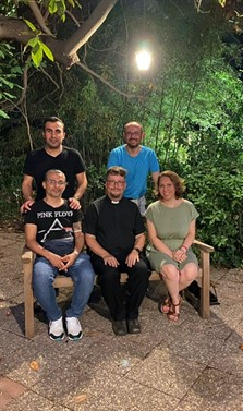 With members of the regular congregation (including three sidespeople and the sacristan (in Pink Floyd tee-shirt!), at the post service party in Mr Giraud's lovely garden.